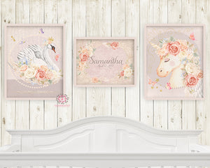 3 Prints Miss Lolly Unicorn Remington Swan Nursery Wall Art Print Boho Bohemian Baby Name Blush Room Kids Bedroom Home Limited Edition Decor