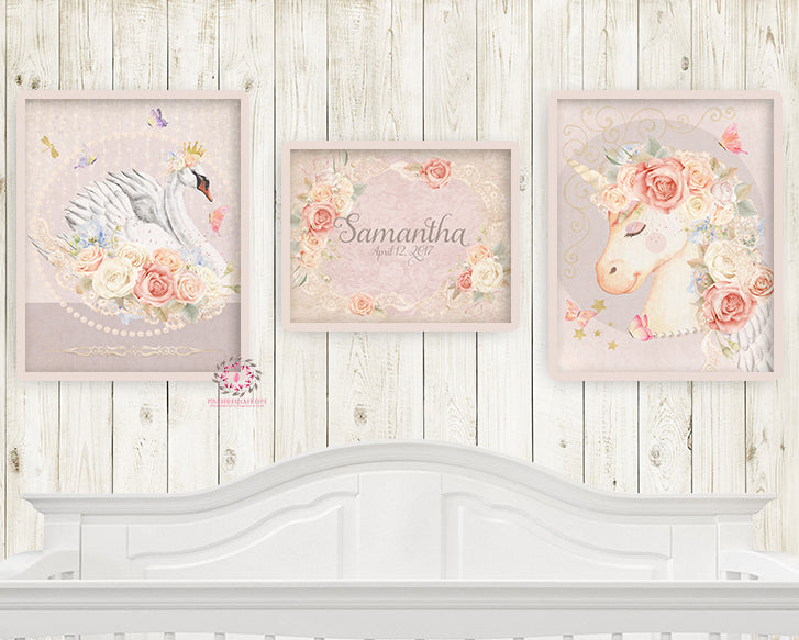 3 Prints Miss Lolly Unicorn Remington Swan Nursery Wall Art Print Boho Bohemian Baby Name Blush Room Kids Bedroom Home Limited Edition Printable Decor