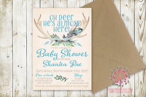 Baby Boy Invite Invitation Antlers Shower Birthday Party Deer Antlers Wedding Bridal Save The Date Announcement Feathers Tribal Woodland Watercolor Floral Rustic Printable Art