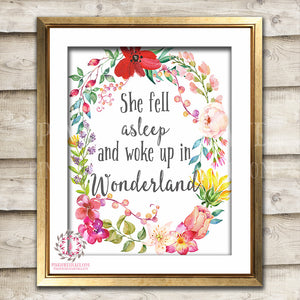 Boho Alice In Wonderland Wall Art Print Baby Girl Boho Nursery Room Watercolor Floral Printable Decor