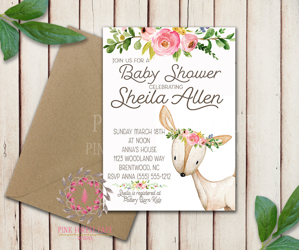 Woodland Deer Invite Invitation Baby Shower Boho Floral Watercolor Birth Announcement Printable