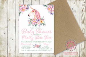 Baby Girl Shower Invite Invitation Unicorn Birthday Party Bridal Save The Date Announcement Watercolor Floral Printable Art