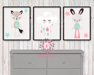 3 Fox Bunny Rabbit Woodland Scandinavian Boho Nursery Baby Girl Printable Print Room Set Lot Prints Wall Art Decor