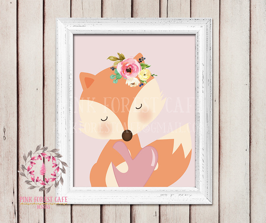 Sleepy Fox Heart Watercolor Floral Baby Girl Room Woodland Rustic Nursery Printable Wall Poster Sign Art Stationery Card Baby Shower Room Home Decor