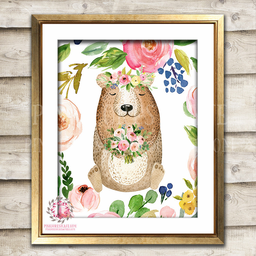Watercolor Bear Woodland Boho Print Printable Wall Art Bohemian Garden Floral Nursery Baby Girl Room Playroom Decor
