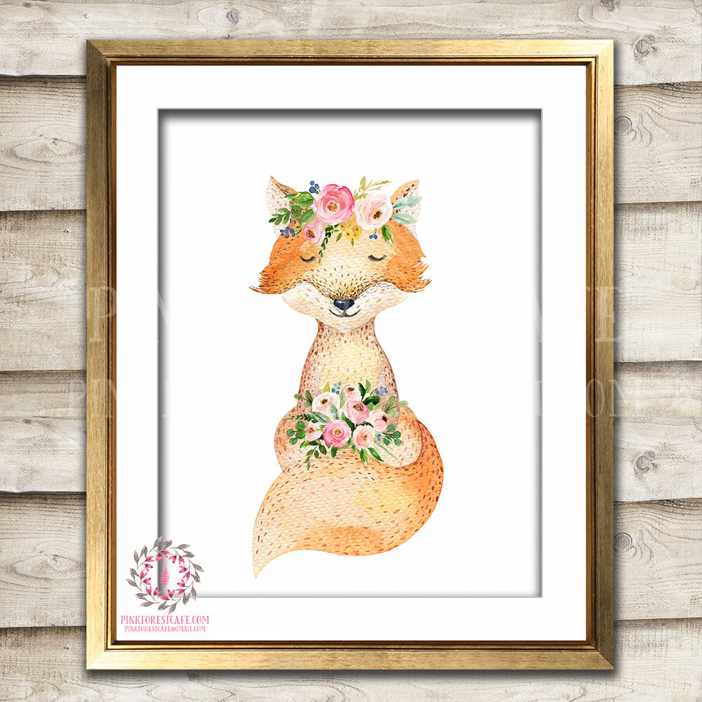 Watercolor Fox Woodland Boho Print Printable Wall Art Bohemian Garden Floral Nursery Baby Girl Room Playroom Decor