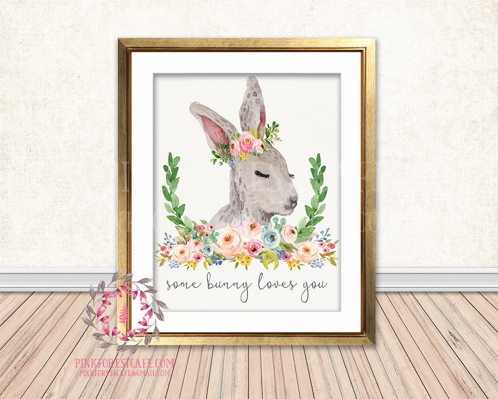 Some Bunny Loves You Rabbit Woodland Boho Bohemian Floral Nursery Baby Girl Room Printable Print Wall Decor