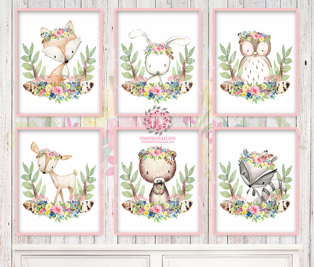 6 Deer Fox Bunny Rabbit Bear Printable Print Wall Art Woodland Boho Feather Bohemian Floral Nursery Baby Girl Room Set Lot Prints Owl Raccoon Decor