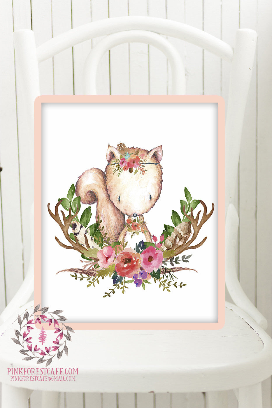 Squirrel Woodland Boho Printable Print Wall Art Baby Nursery Feather Antlers Watercolor Bohemian Floral Girl Room Decor