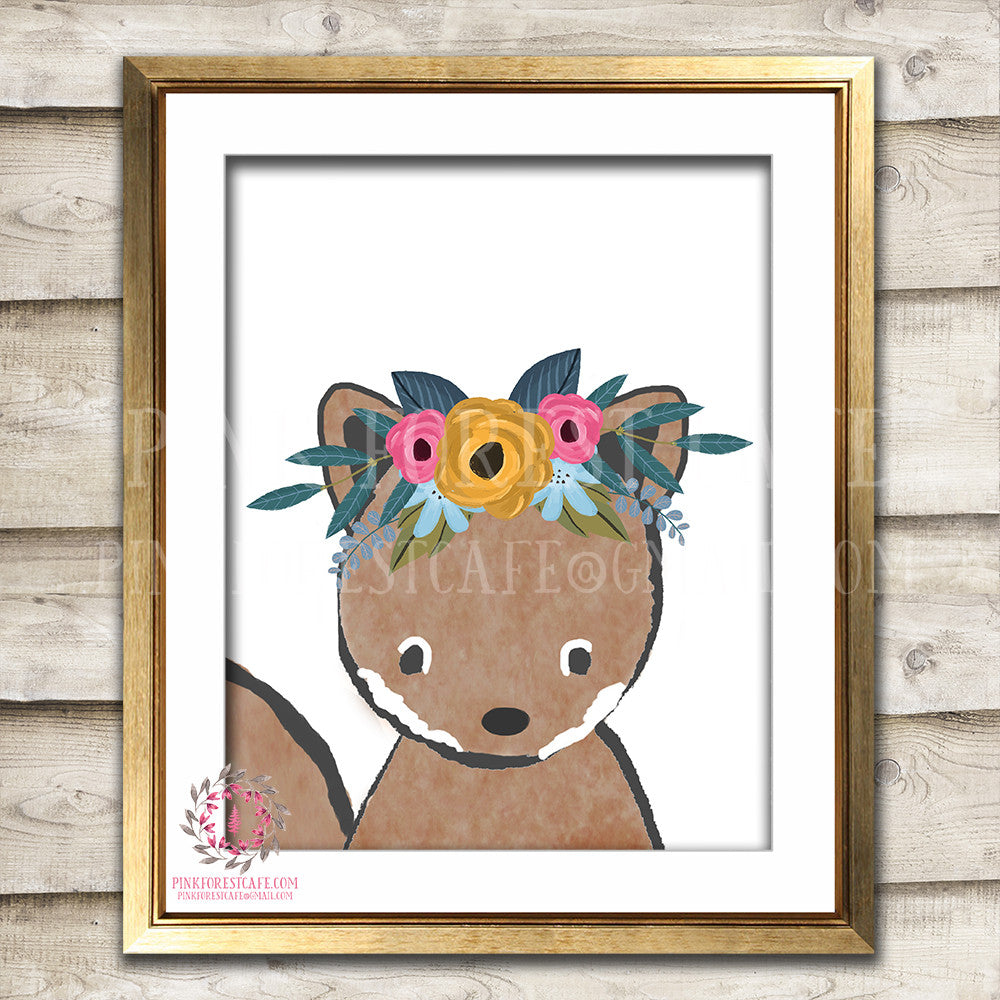 Squirrel Woodland Boho Bohemian Floral Nursery Baby Girl Room Prints Printable Print Wall Art Decor