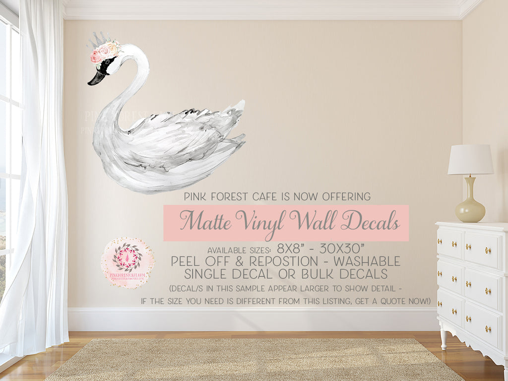 Boho Swan Silver Crown Blush Rose Floral Ivory Pink Wall Decal Sticker Art Baby Nursery Decor