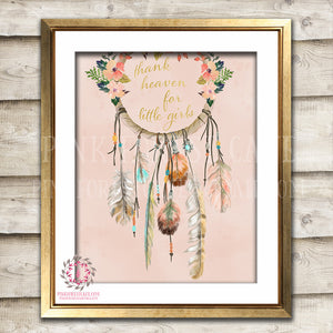 Thank Heaven For Little Girls Dreamcatcher Gold Boho Floral Blush Baby Girl Woodland Printable Wall Art Print Nursery Decor