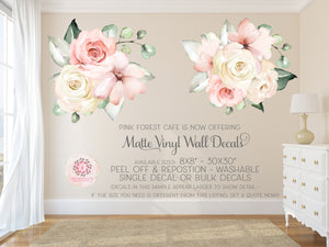 Peony Peonies Rose Floral Blush Ivory Pink Wall Decal Flower Decals Sticker Art Boho Decor