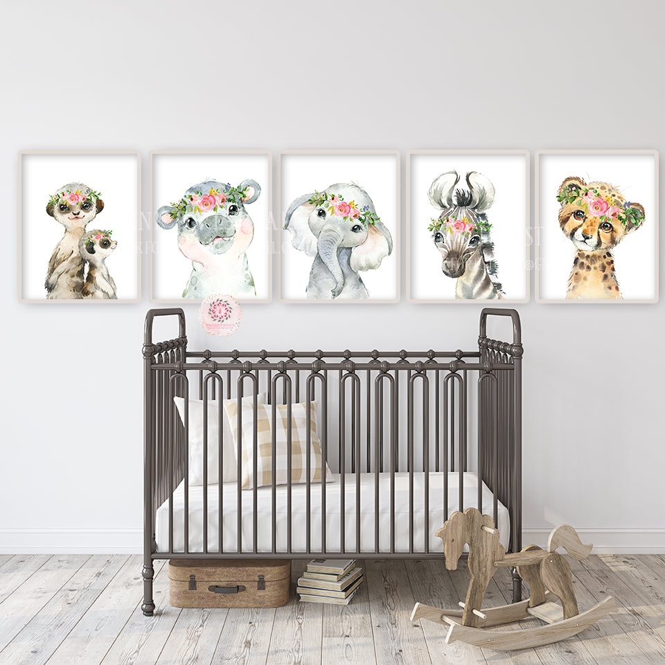 5 Boho Elephant Meerkat Wall Art Print Nursery Zoo Baby Girl Room Floral Bohemian Safari Zebra Cheetah Hippo Watercolor Set Prints Printable Decor
