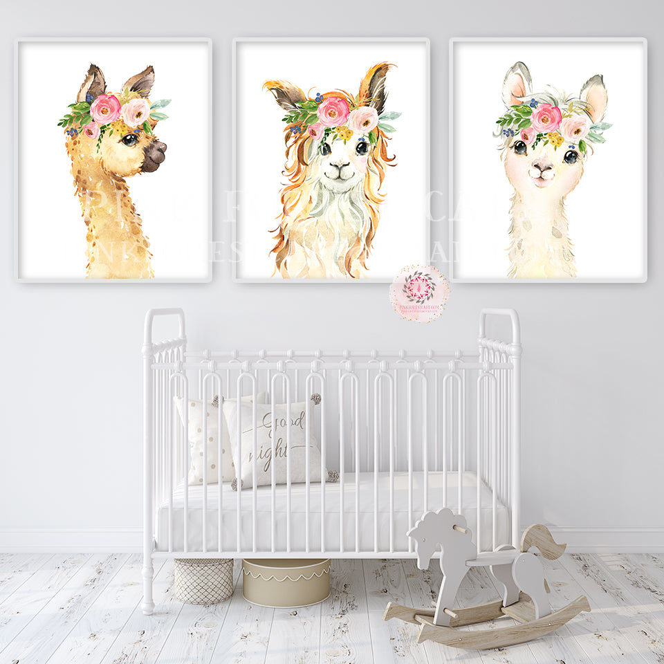 3 Boho Llama Alpaca Wall Art Print Nursery Baby Girl Room Bohemian Floral Watercolor Set Prints Printable Decor