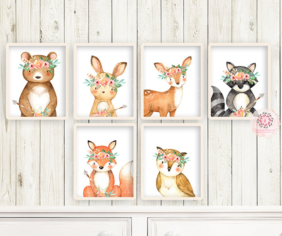 6 Boho Deer Fox Wall Art Print Woodland Nursery Baby Girl Room Set Lot Watercolor Raccoon Bear Bunny Owl Arrow Prints Printable Decor