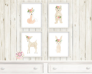 4 Woodland Boho Animals Wall Art Print Deer Bunny Fox Bear Watercolor Baby Girl Nursery Printable Decor