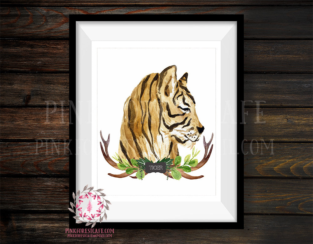 Tiger Tribal Antlers Rustic Woodland Safari Zoo Animal Nursery Printable Wall Art Print Watercolor Baby Boy Cabin Home Decor