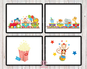 SALE 4 Circus Train Monkey Elephant Zoo Animals Wall Art Print Scandinavian Clown Nursery Baby Room Set Lot Prints Printable Decor