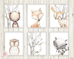 6 Deer Fox Bunny Rabbit Bear Owl Raccoon Wall Art Print Woodland Nursery Baby Room Set Lot Prints Printable Decor
