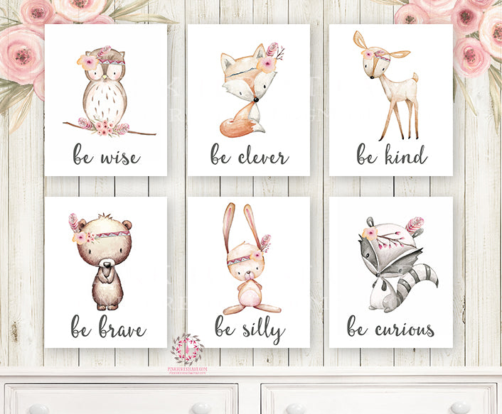 6 Deer Fox Bunny Rabbit Wall Art Print Bear Owl Raccoon Tribal Woodland Boho Bohemian Floral Nursery Baby Girl Room Set Lot Printable Prints Home Decor