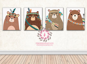 Set Lot Of 4 Bear Tribal Arrow Boho Woodland Printable Print Prints Wall Art Nursery Decor