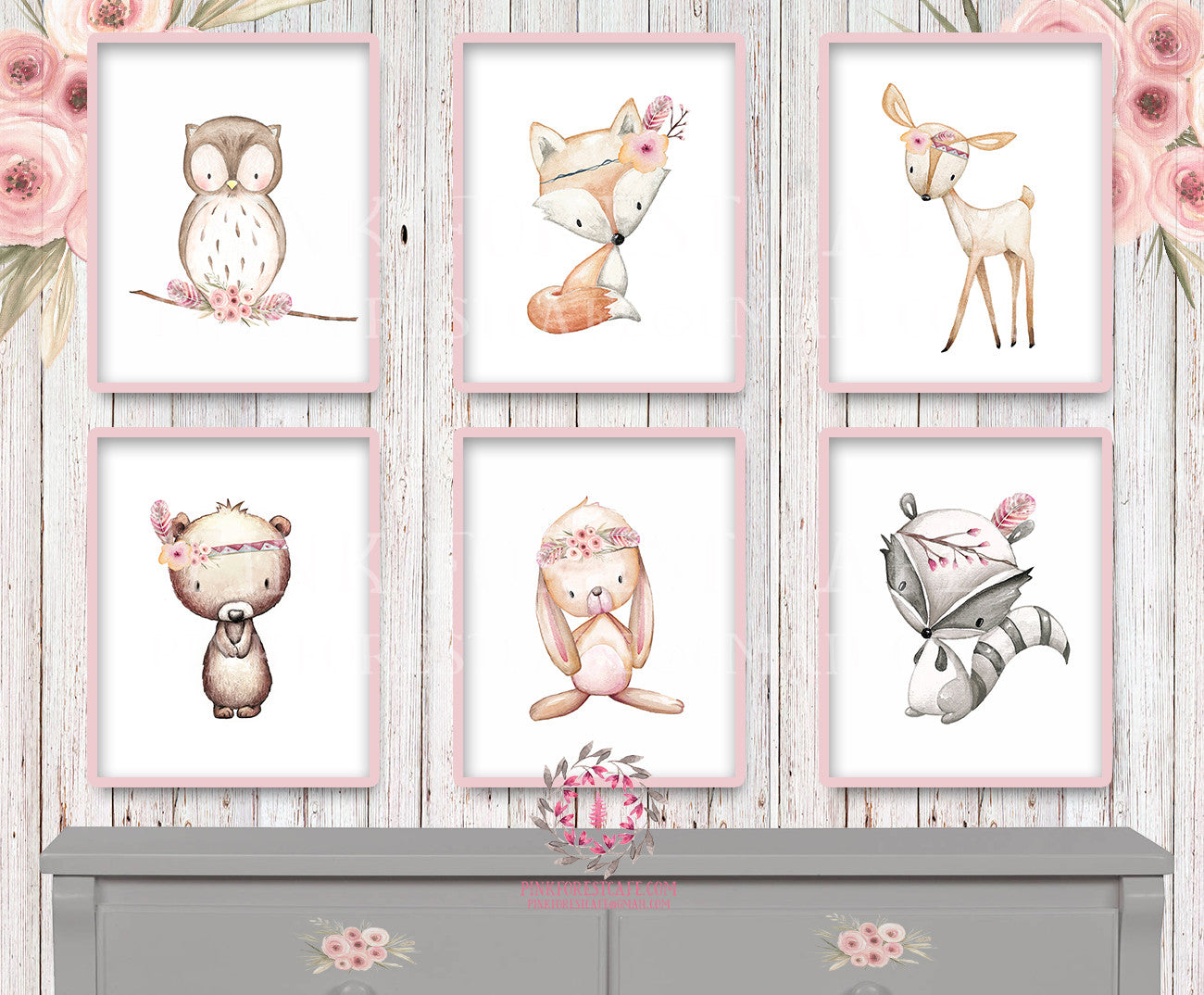 6 Deer Fox Bunny Rabbit Bear Owl Raccoon Tribal Printable Print Wall A Pink Forest Cafe