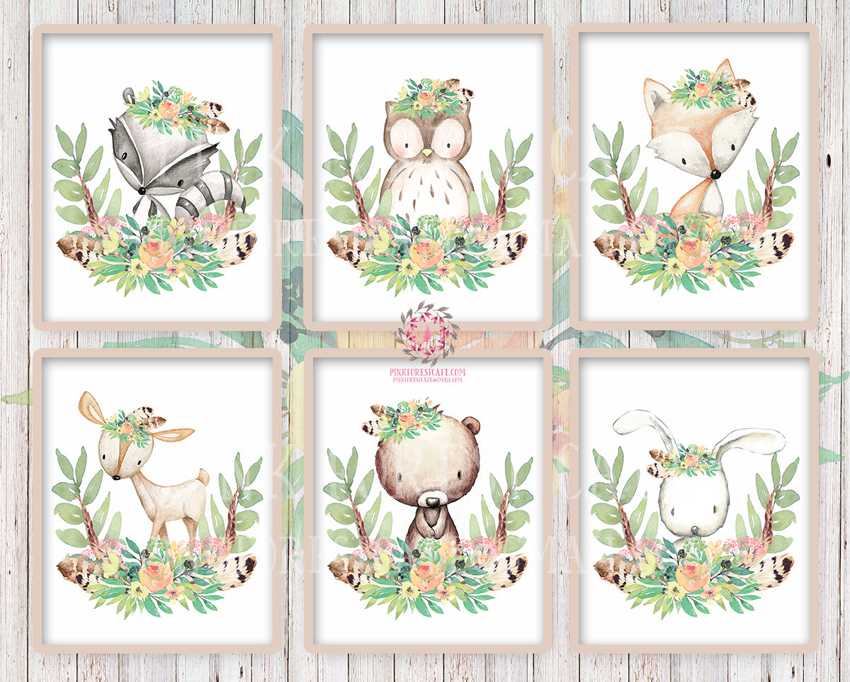 Deer Fox Bunny Rabbit Bear Owl Raccoon Boho Woodland Feather Printable Print Wall Art Bohemian Floral Blush Tuscan Nursery Baby Girl Room Set Lot Of 6 Prints Decor