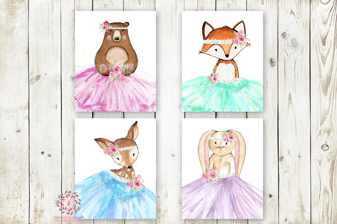 Deer Bear Bunny Rabbit Fox Ballerina TuTu Wall Art Print Set Woodland Boho Bohemian Floral Nursery Baby Girl Room Prints Printable Decor