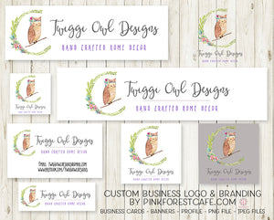 Business Branding Cards Logo Banners For Blogs Website FaceBook Etsy Instagram Profile Images Printable Design Set