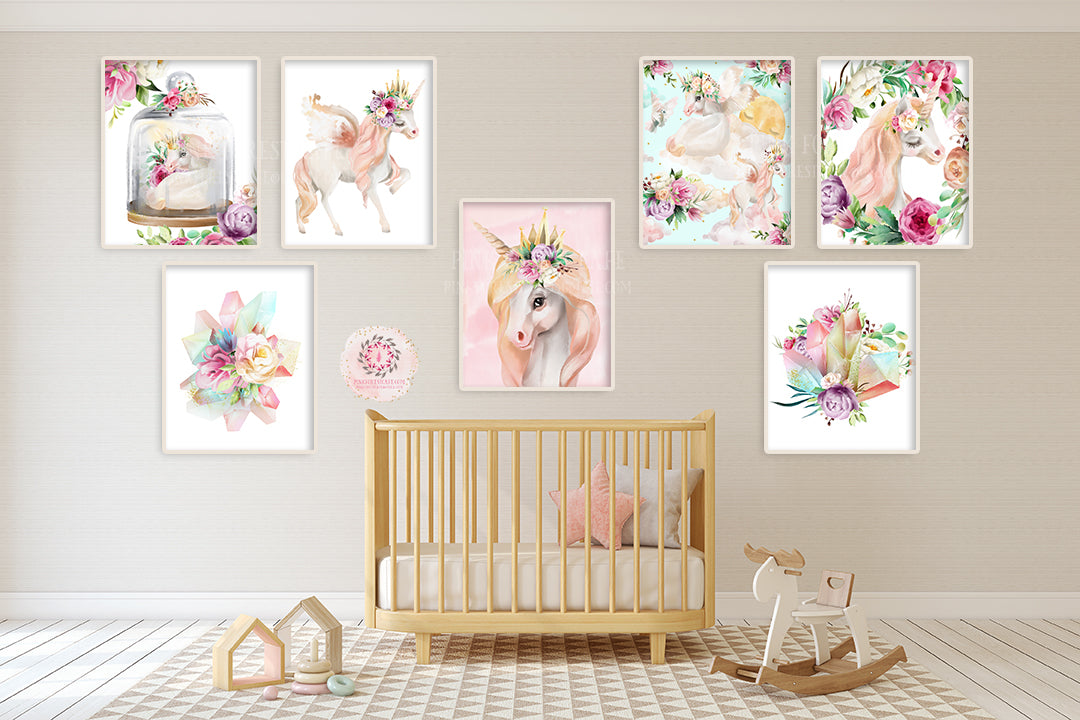 7 Boho Unicorn Baby Girl Nursery Wall Art Print Purple Floral Ethereal – Pink Forest Cafe