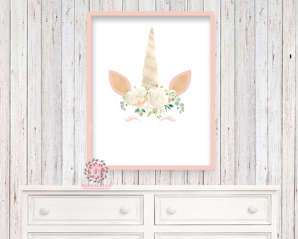 Blush Unicorn Sleeping Face Printable Wall Art Print Baby Girl Nursery Boho Fantasy Watercolor Poster Room Decor