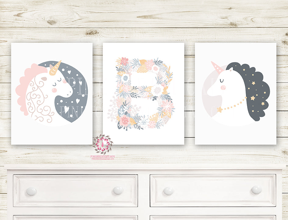 3 Sleeping Unicorn Boho Wall Art Baby Nursery Monogram Initial Celestial Stars Heart Printable Decor