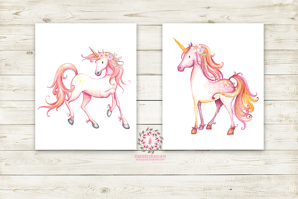 2 Boho Pink Unicorn Wall Art Print Baby Girl Nursery Fantasy Watercolor Poster Prints Room Printable Decor