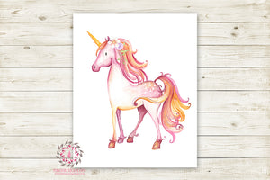 Boho Pink Unicorn Wall Art Print Baby Girl Nursery Fantasy Watercolor Poster Room Printable Decor