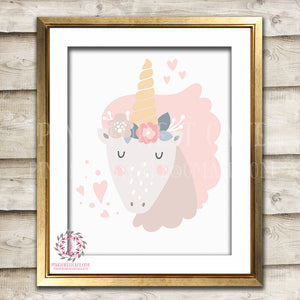 Sleeping Unicorn Baby Girl Nursery Boho Room Printable Wall Art Print Poster Nursery Decor