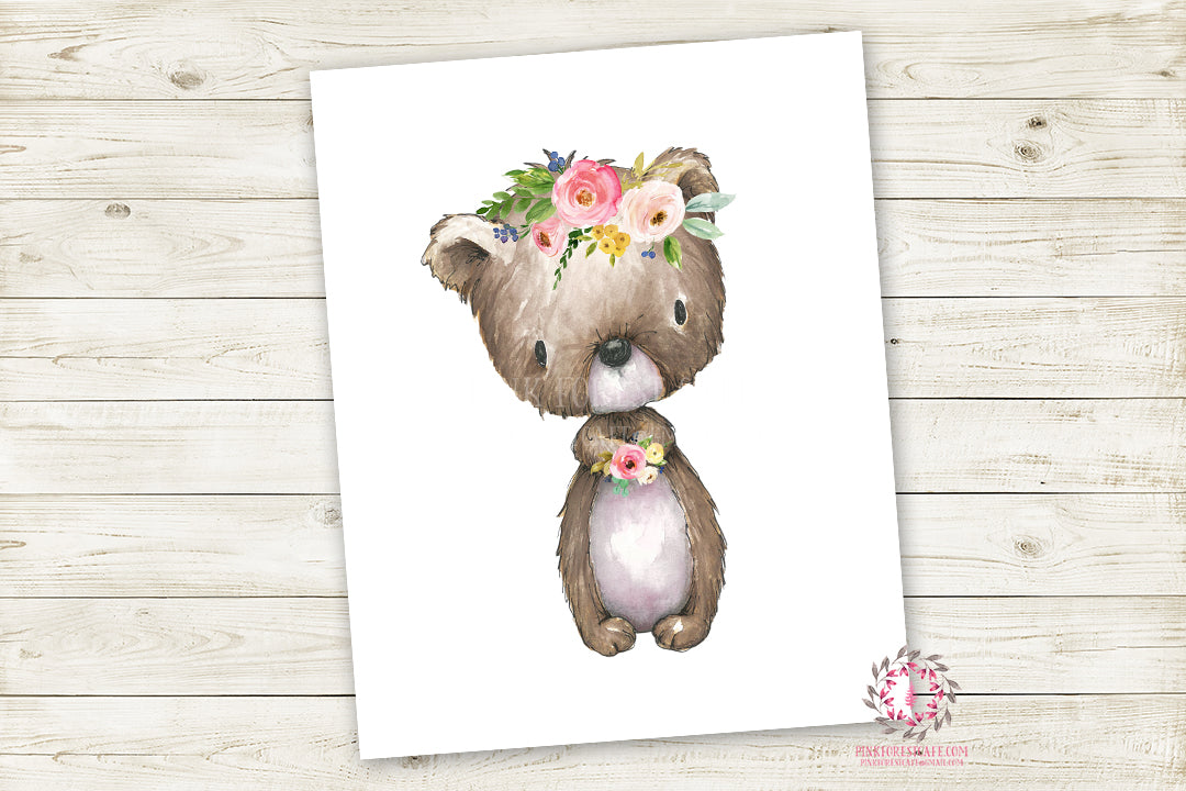 Boho Bear Woodland Wall Art Print Baby Girl Nursery Watercolor Floral  Printable Decor