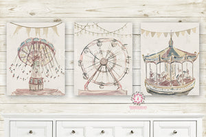 Monochrome Vintage Carnival Rides Nursery Wall Art Print Ethereal Ferris Wheel Swing Carousel Merry Go Round Amusement Park Woodland Rustic Swing Boho Printable Watercolor Mystery Fantasy Magical Decor