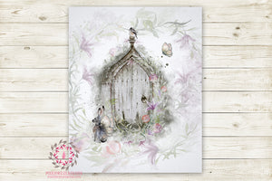 "Boho Bunny Nursery Wall Art Print Ethereal ""Violet"" Shabby Chic Fairy Garden Wings Woodland Printable Watercolor Mystery Fantasy Magical Decor"