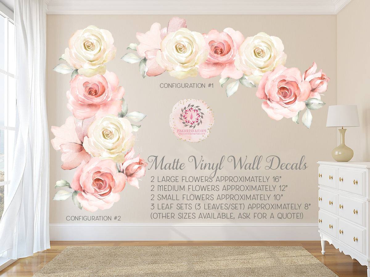Rose Floral Blush Ivory Pink Matte Finish Wall Decal Flower Decals Sticker Art Boho Decor