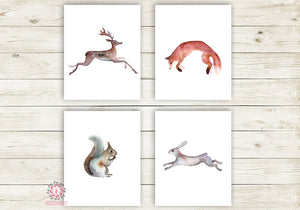 4 Deer Fox Bunny Rabbit Wall Art Print Woodland Animal Nursery Baby Room Set Lot Prints Printable Decor