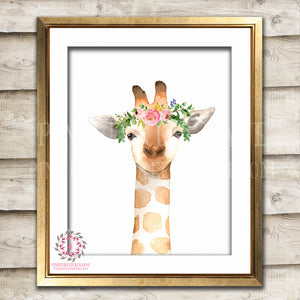 Boho Watercolor Giraffe ZOO Safari Nursery Printable Wall Art Print Kids Baby Boy Girl Room Playroom Poster Home Decor