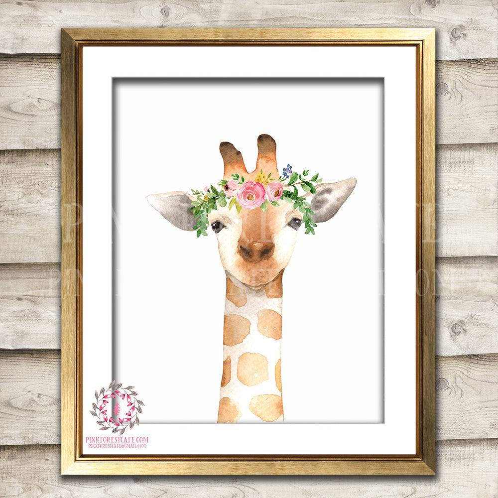 Boho Giraffe Nursery Wall Art Print Safari Zoo Print Watercolor Floral Bohemian Baby Girl Room Kids Bedroom Decor