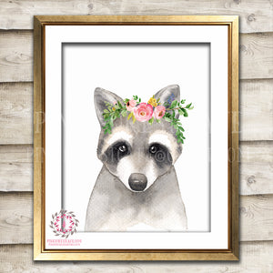 Watercolor Boho Raccoon Woodland Nursery Printable Wall Art Print Kids Baby Girl Room Playroom Poster Home Decor