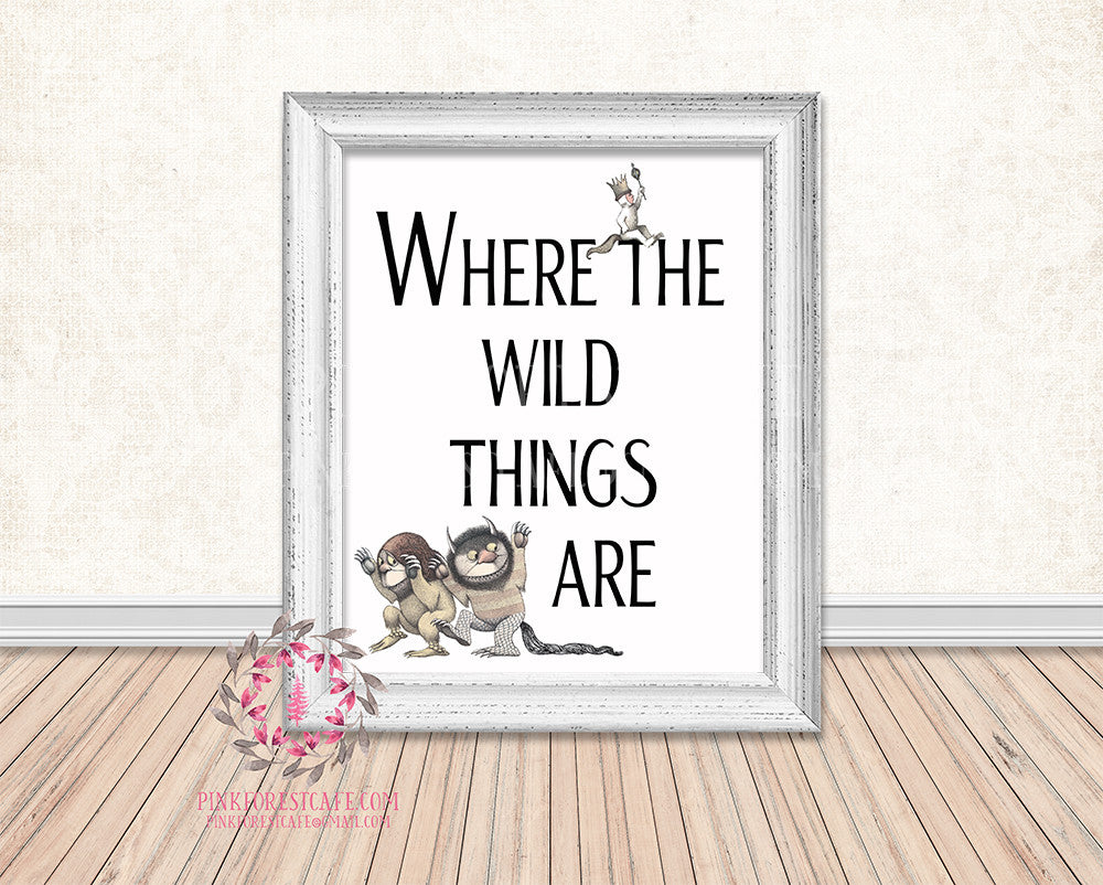 Where The Wild Things Are Printable Wall Art Print Rustic Woodland Nursery Home Decor