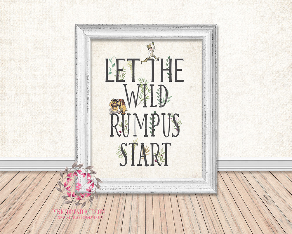 Where The Wild Things Are Let The Wild Rumpus Start Printable Wall Art Print Rustic Woodland Nursery Home Decor