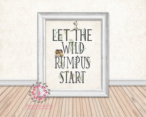 picture relating to Let the Wild Rumpus Start Printable named Where by The Wild Elements Are Permit The Wild Rumpus Start out Printable Wall Artwork Print Rustic Woodland Nursery Household Decor