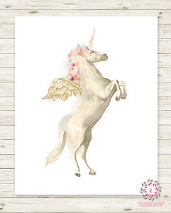 Ethereal Unicorn Baby Girl Nursery Wall Art Print Boho Shabby Chic Bohemian Blush Kids Bedroom Room Printable Decor