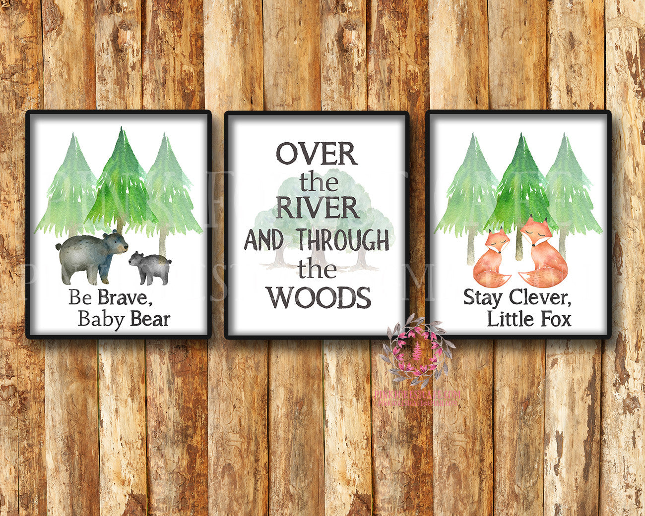 3 Fox Deer Camping Woodland Adventure Nursery Baby Printable Print Wall Art Set Lot Prints Cabin Home Decor