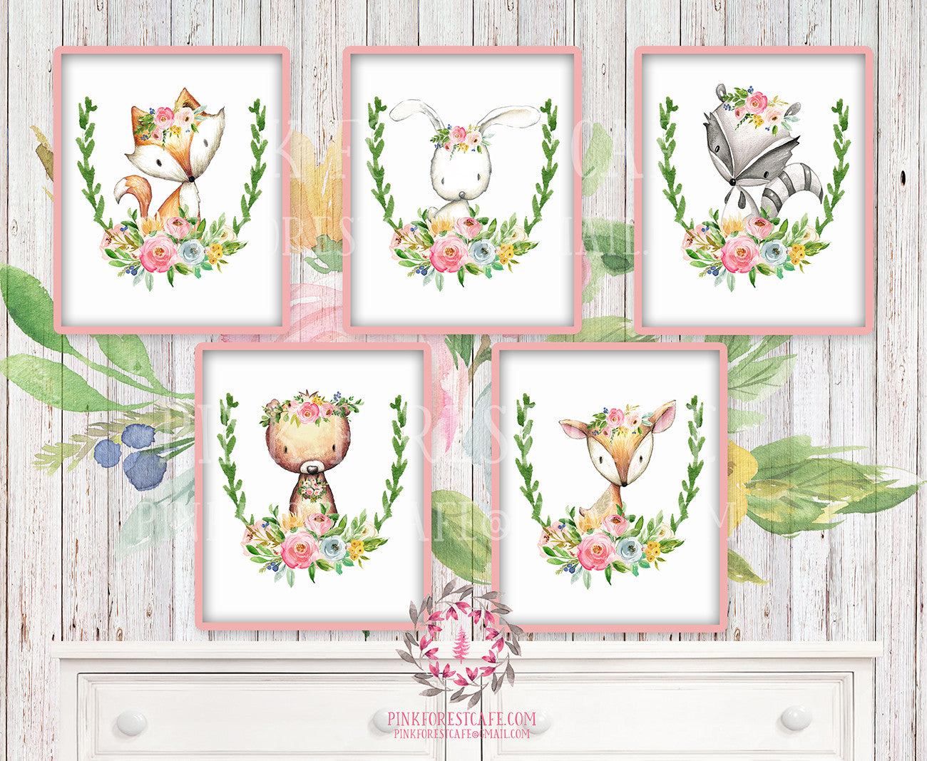 SALE 5 Woodland Boho Wall Art Print Deer Fox Bunny Rabbit Bear Raccoon Bohemian Floral Nursery Baby Girl Room Prints Printable Decor